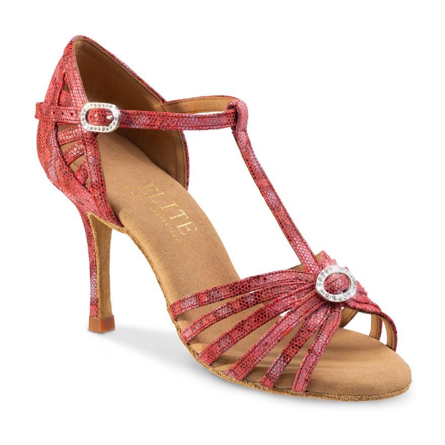 """Chaussures de danse Professionnelles Elite Rummos """"Karina"""" cuir rouge histrix imitation peau de lézard"""