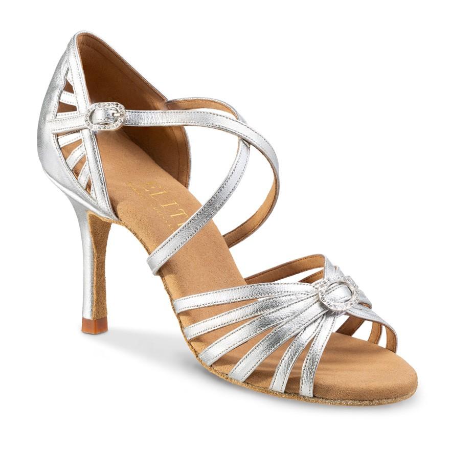 """Chaussures de danse professionnelles Elite Rummos """"Celine"""" cuir argent et strass"""