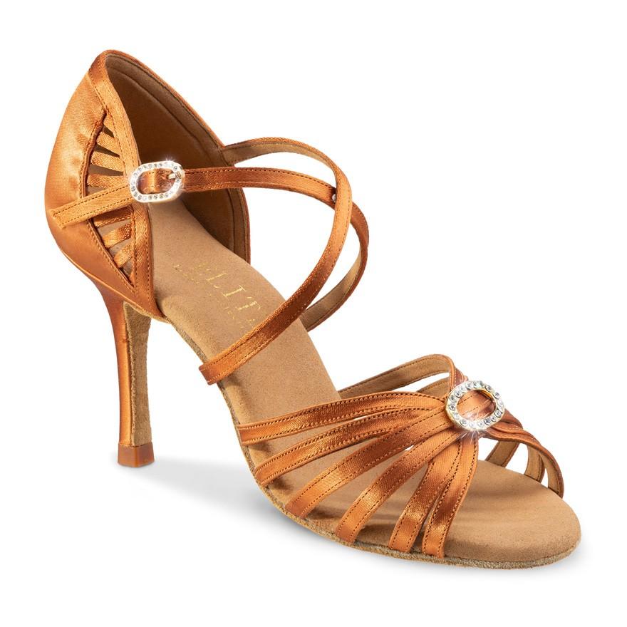 """Chaussures de danse professionnelles Elite Rummos """"Celine"""" satin tan et strass"""