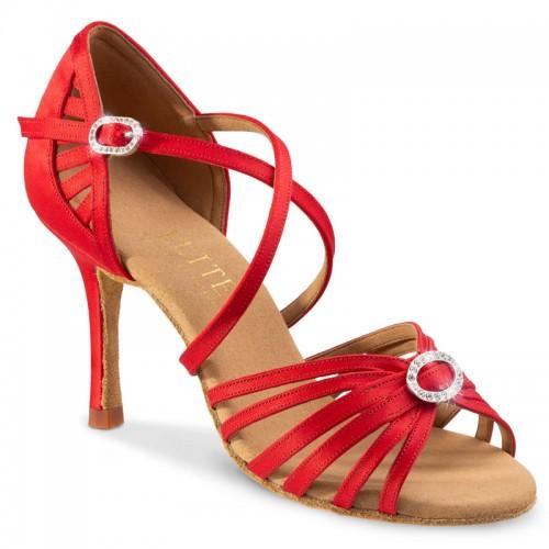 """Chaussures de danseprofessionnelle Elite Rummos """"Céine"""" satin rouge et strass"""