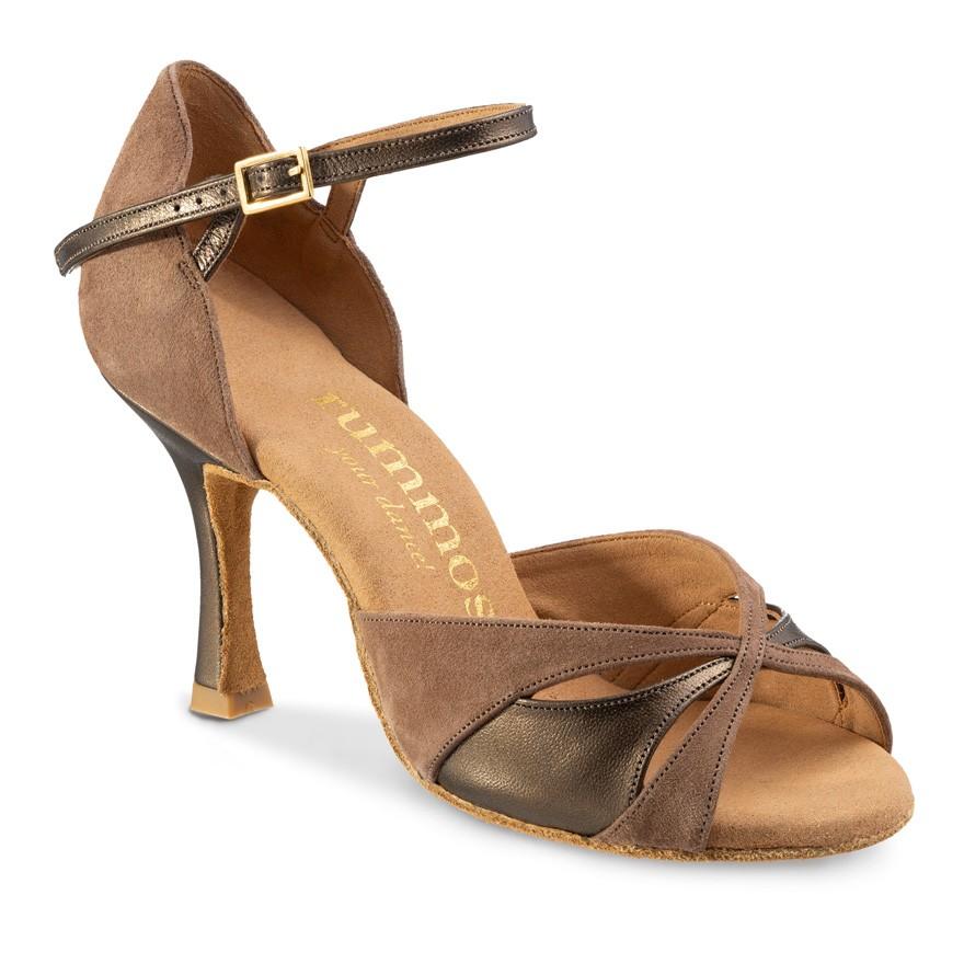 "Chaussures de danse Rummos ""Kamila""nubuck marron taupe et cuir bonze métal"