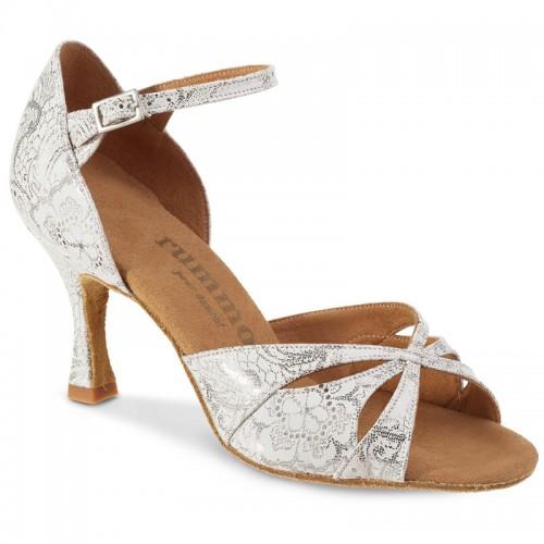 """Chaussures de danse Rummos """"Kamila"""" cuir blanc argenté fleuri"""