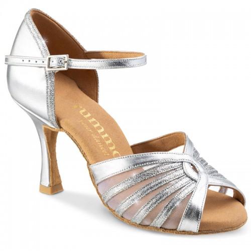 """Chaussures de danse Rummos """"Tatiana"""" cuir et glitter argent"""