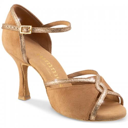 "Chaussures de danse Rummos ""Selma""Nubuck marron clair et glitter"