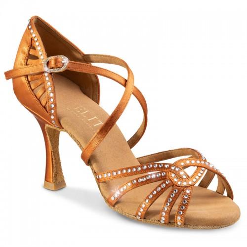 """Chaussures de danse professionnelles Elite Rummos """"Eris"""" satin tan et strass"""