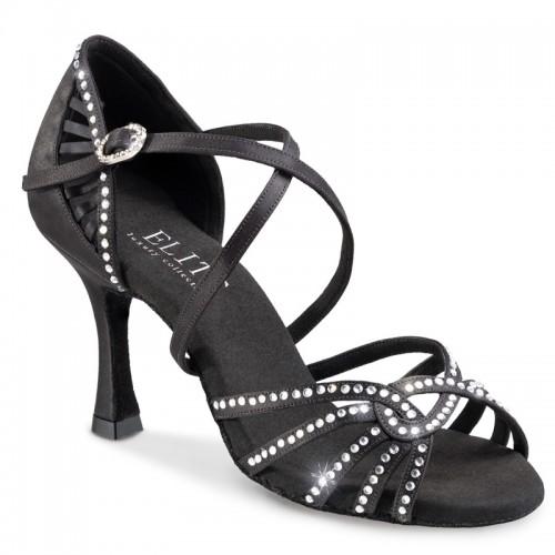 """Chaussures de danseprofesssionnelle Elite Rummos """"Eris"""" satin noir et strass"""