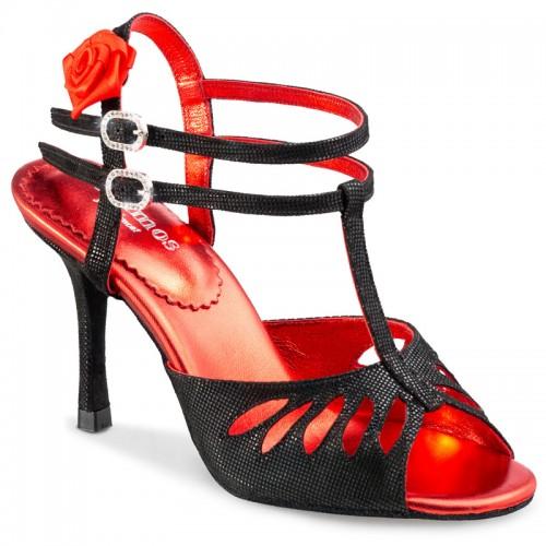 """Chaussures de danse Rummos """"Pasion"""" cuir noir imitation peau de lézard"""
