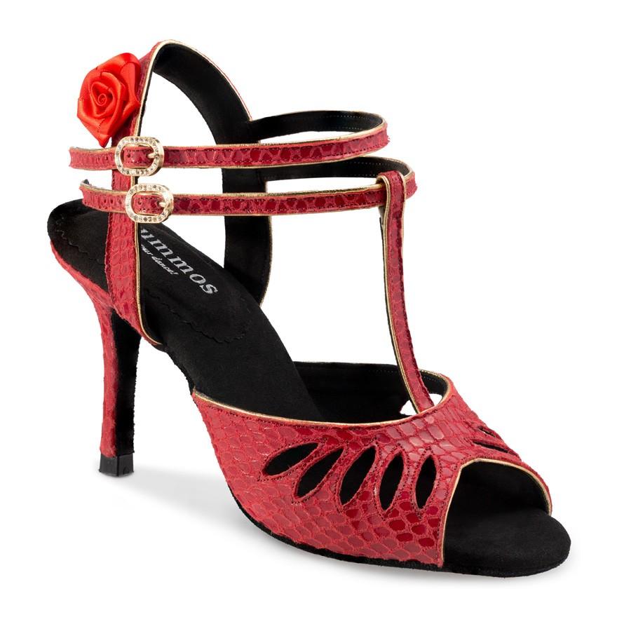 """Chaussures de danse Rummos """"Pasion"""" cuir rouge imitation peau de serpent"""