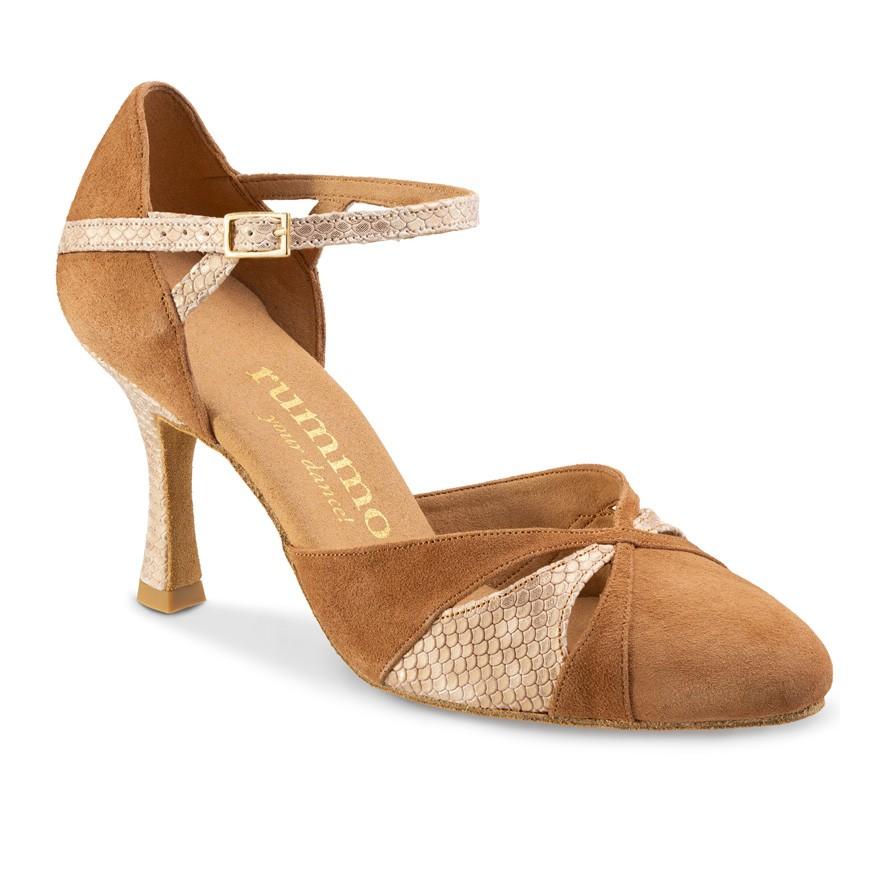 "Chaussures de danse Rummos ""Nora"" nubuck marron camel et cuir beige imitation peau de serpent"