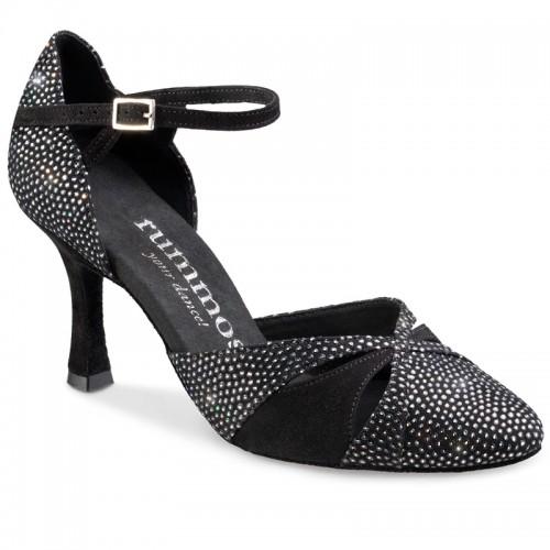 """Chaussures de danse Rummos """"Nora"""" nubuck noir strassé"""