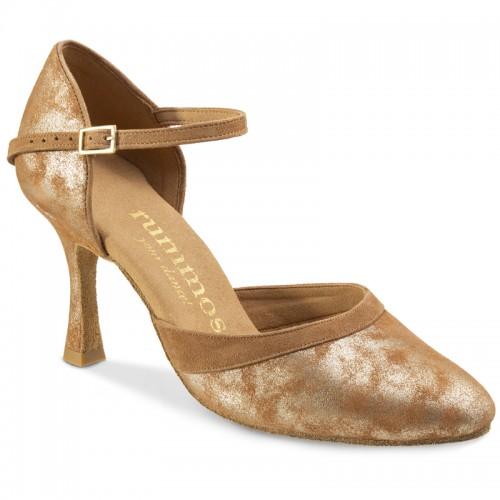 "Chaussures de danse Rummos ""Brenda"" nubuck marron marbré argent"