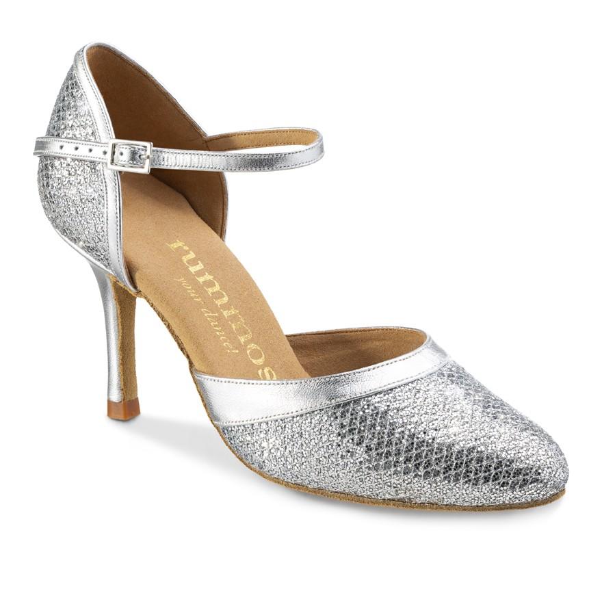 """Chaussures de danse Rummos """"Brenda"""" cuir argent glitter"""