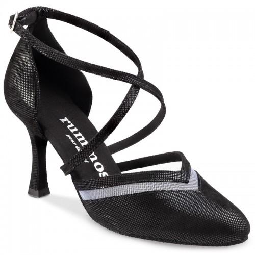 """Chaussures de danse Rummos """"Agata"""" cuir noir imitation peau de lézard"""
