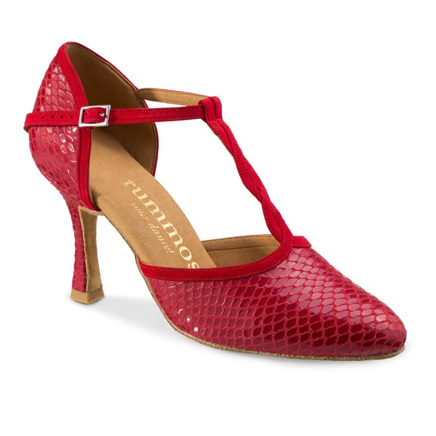 "Chaussures de danse Rummos ""Karen"" cuir rouge imitation peau de serpent"