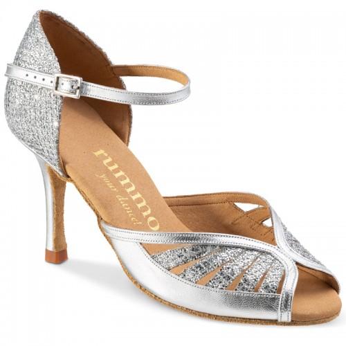 """Chaussures de danse Rummos """"Stella"""" cuir et glitter argent"""