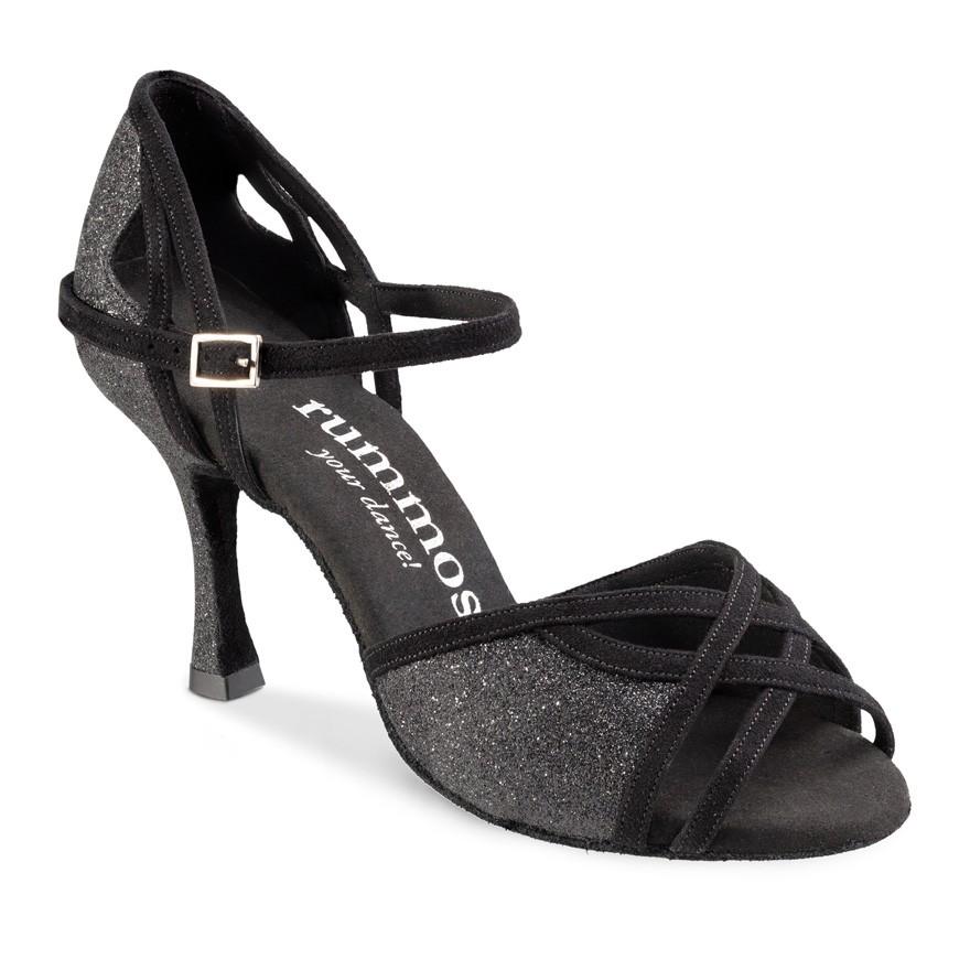 """Chaussures de danse Rummos """"Claire"""" nubuck et glitter noir"""