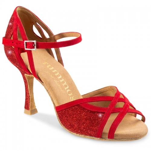 """Chaussures de danse Rummos """"Claire"""" nubuck et glitter rouge"""