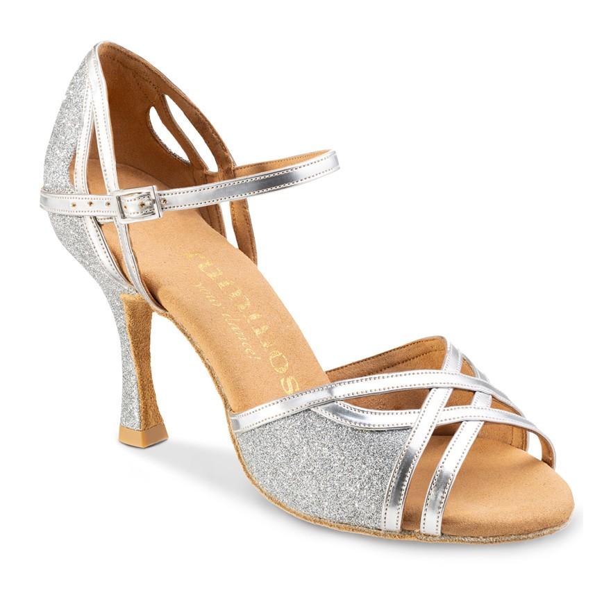 """Chaussures de danse Rummos """"Claire"""" cuir et glitter argent"""