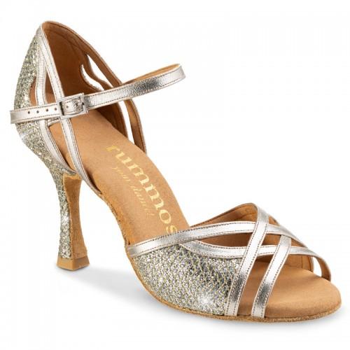 "Chaussures de danse Rummos ""Claire"" cuir et glitter or platine"