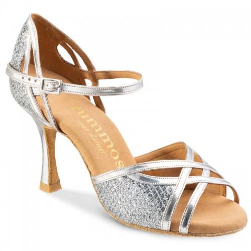 """Chaussures de danse Rummos """"Claire"""" cuir et glitter lux argent"""