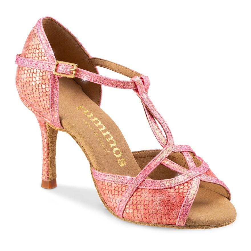 """Chaussures de danse Rummos """"Santigold"""" cuir rose imitiation peau de serpent"""
