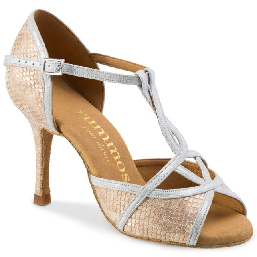 "Chaussures de danse Rummos ""Santigold"" cuir beige imitation peau de serpent"
