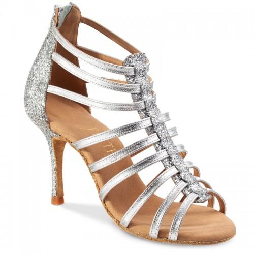 """Chaussures de danse Rummos """"Rica"""" cuir argent lise et glitter"""