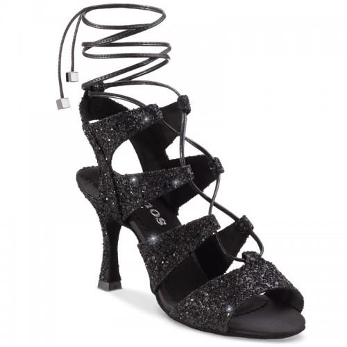 """Chaussures de danse Rummos """"Tina"""" cuir noir glitter"""