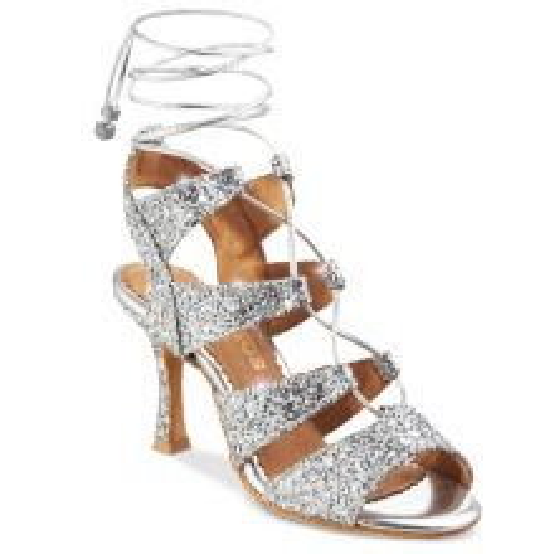 """Chaussures de danse Rummos """"Tina"""" cuir argent glitter"""
