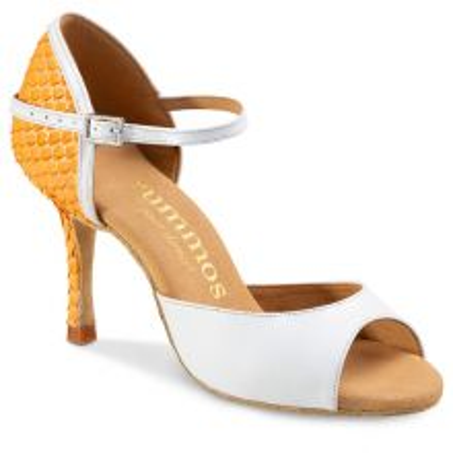 "Chaussures de danse Rummos ""Gabi"" cuir blanc et cuir jaune imitation peau de serpent"