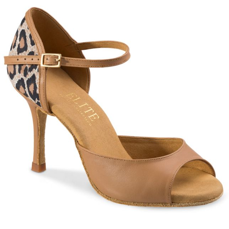 """Chaussures de danse Rummos """"Gabia"""" cuir beige et imprimé léopard"""