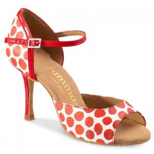 """Chaussures de danse Rummos """"gabi"""" cuir blanc à pois rouge"""