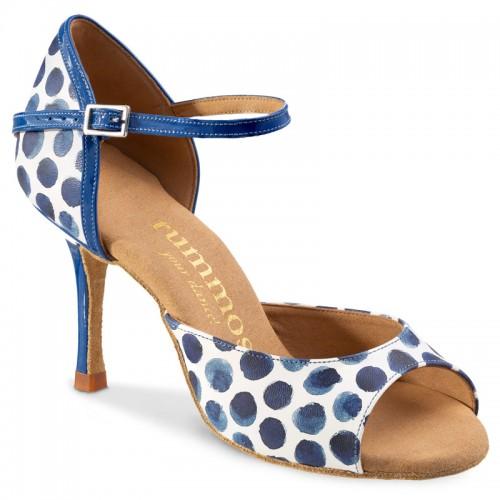 """Chaussures de danse Rummos """"Gabi"""" cuir blanc à pois bleu"""