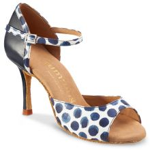 "Chaussures de danse Rummos ""Gabi"" cuir bleu navi et cuir blanc à pois bleu"