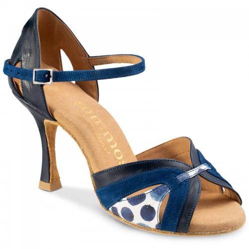 """Chaussures de danse Rummos """"Isabel"""" Cuir bleu marine, nubluc bleu et cuir blanc à pois bleu"""