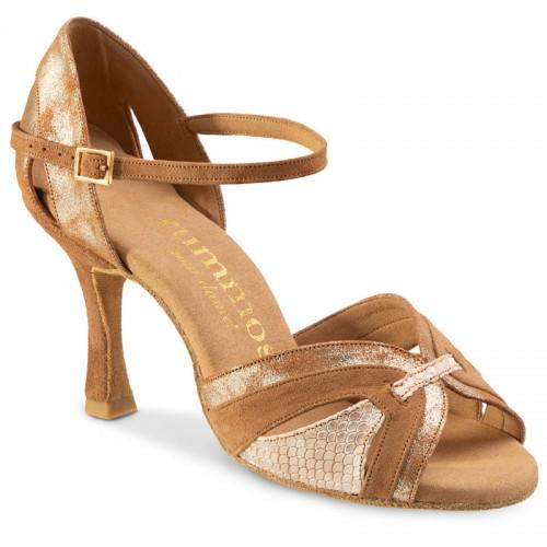 """Chaussures de danse Rummos """"Isabel"""" nubuck tan, cuir tan argenté et cuir beige imitation peau de serpent"""