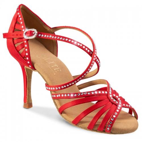 """Chaussures de danse professionnel Rummos """"Luna"""" satin rouge et strass"""