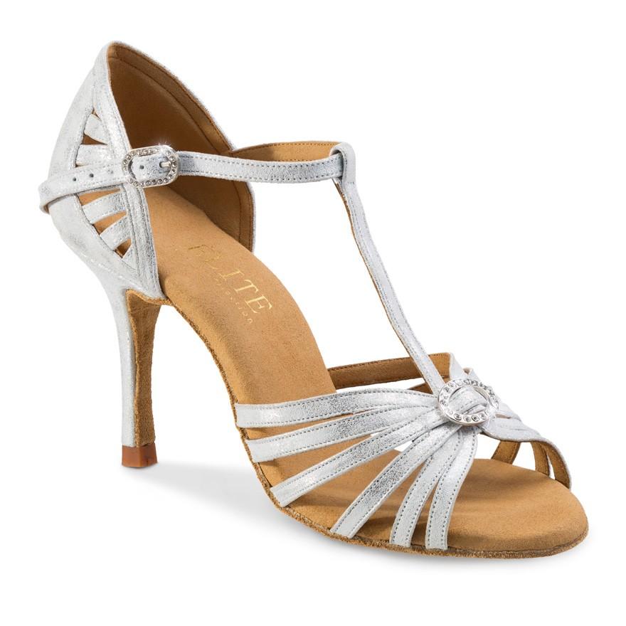 """Chaussures de danse professionnel Elite Rummos """"Karina"""" cuir argent marbré"""