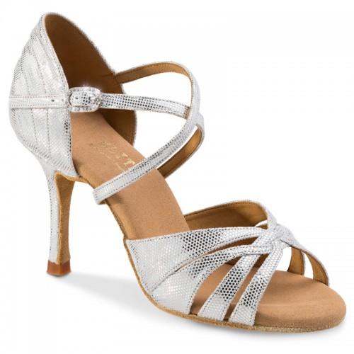 """Chaussures de danse professionnel Elite Rummos """"Paris"""" cuir argent imitiation peau de lezard"""