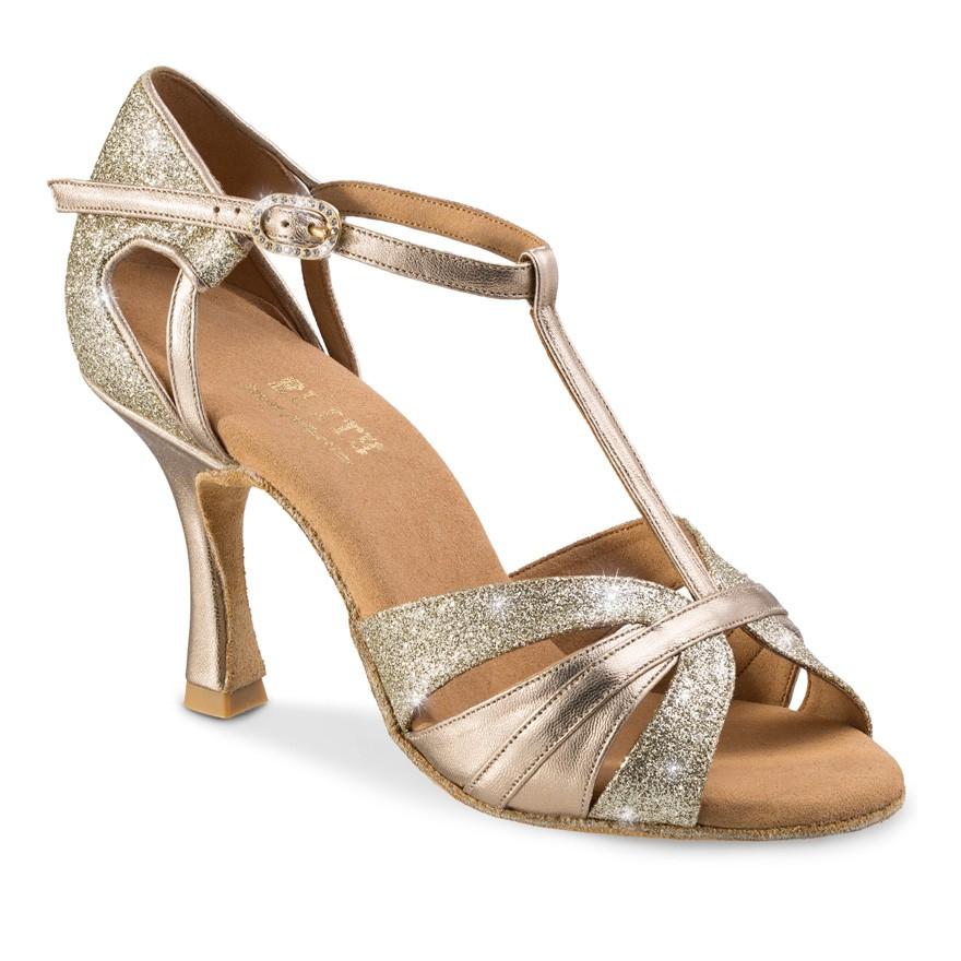 "Chaussures de danse professionnel Elite Rummos ""Martina"" cuir or platine et glitter argent"