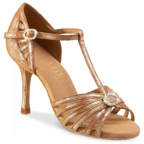 """Chaussures de danse profesisonnel Elite Rummos """"Karina"""" cuir tan marbré argent"""