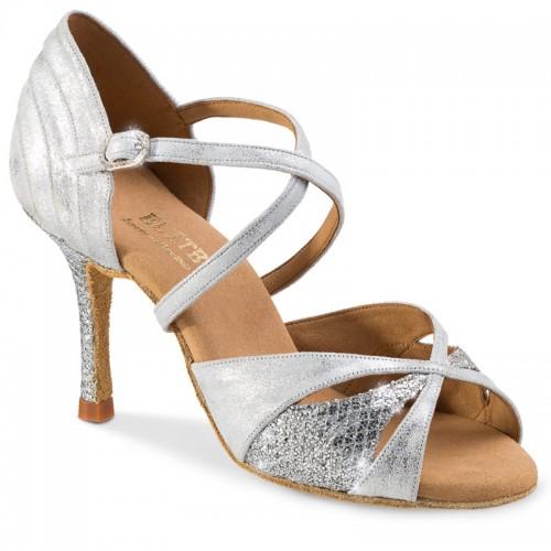 """Chaussures de danse professionnel Elite Rummos """"Paloma"""" cuir argent marbré et cuir argent imitation peau de serpent"""