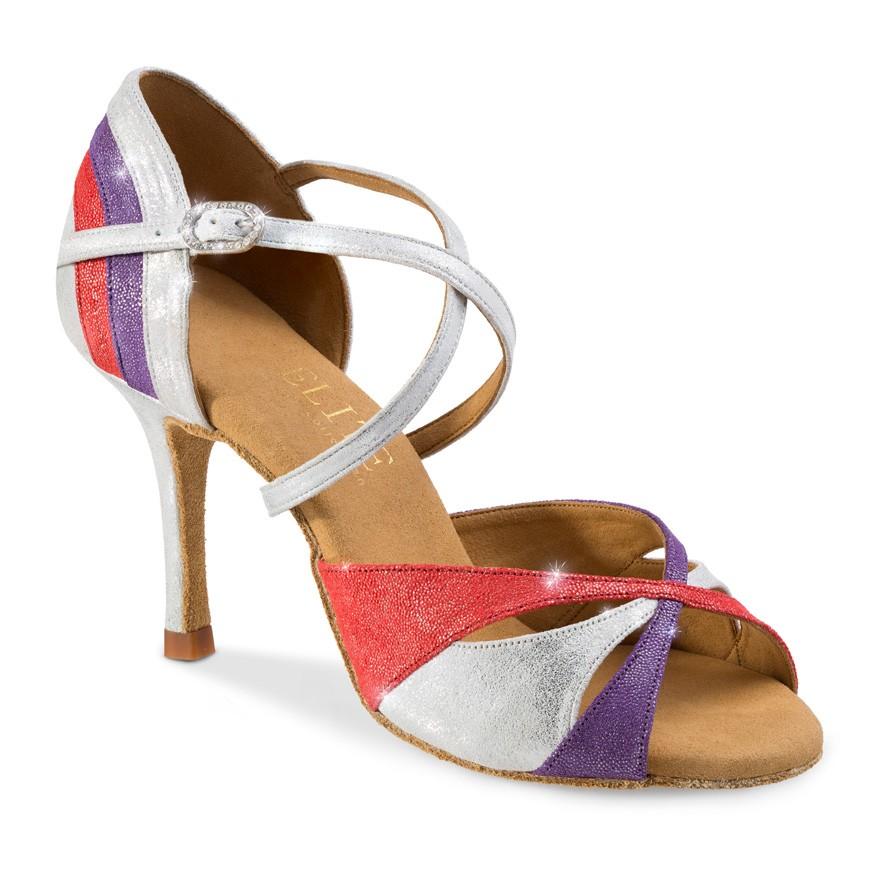"""Chaussures de danse professionnel Eilte Rummos """"Paloma"""" cuir glitter rouge, argent et violet"""