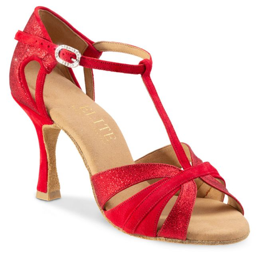 """Chaussures de danse professionnel Rummos """"Martina"""" Daim rouge et cuir glitter rouge"""