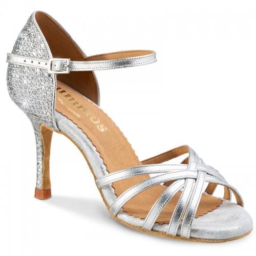 """Chaussures de danse Rummos """"Maryline"""" cuir argent lisse et cuir glitter argent"""