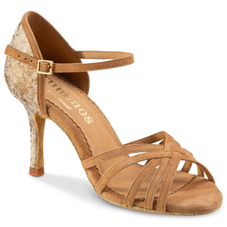 "Chaussures de danse Rummos ""Maryline"" cuir tan marbré or et daim tan"