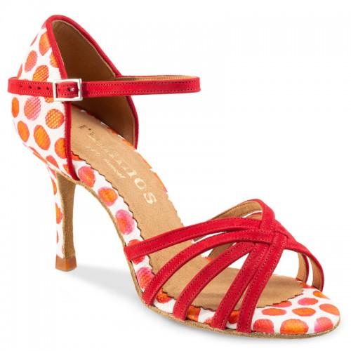 """Chaussures de danse Rummos """"Maryline""""Daim rouge et cuir blanc à pois rouge"""