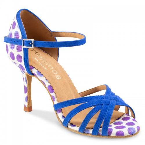 "Chaussures de danse Rummos ""Maryline"" daim bleu et cuir blanc à pois bleu"