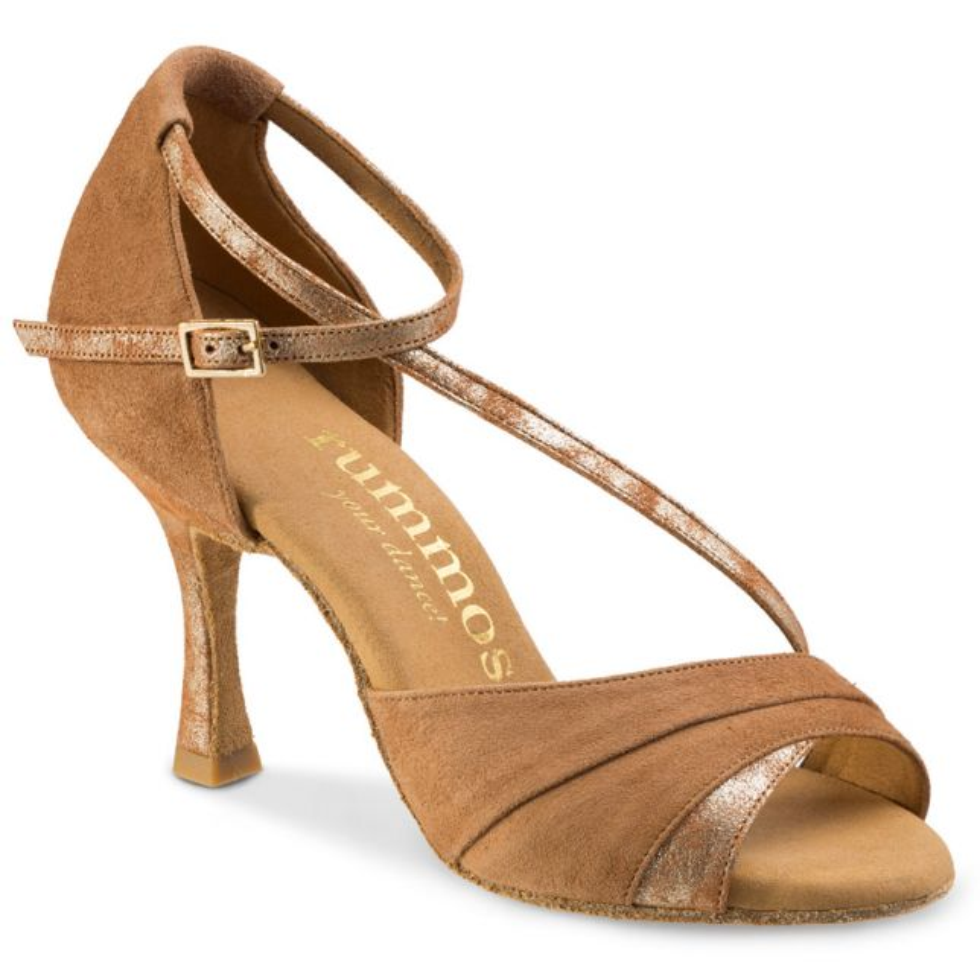 "Chaussures de danse Rummos ""Ania"" daim beige tan et cuir or marbré"