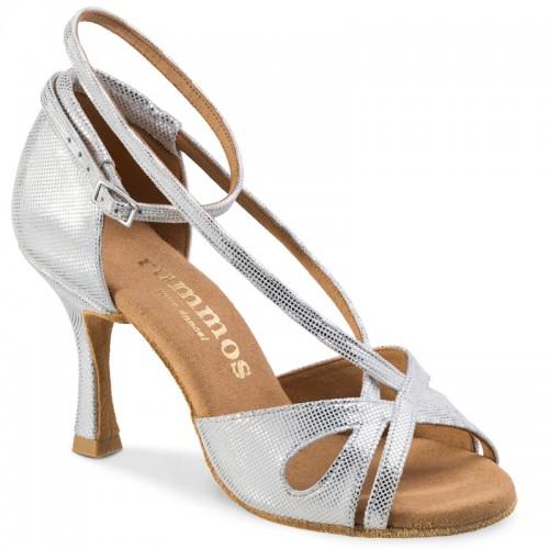 """Chaussures de danse Rummos """"Lana"""" cuir argent imitation peau de lézard"""